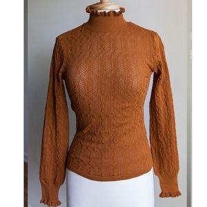 Zara copper knit sweater with ruffle trim